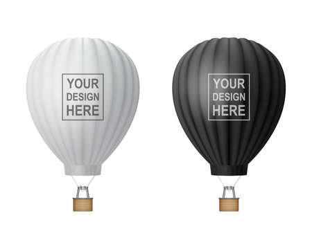 Vector 3d Realistic Hot Air Balloon Icon Set Isolated on White Background. Design Template for Mockup, Branding. Blank Aerostat for Summer Vacation, Travelling, Tourism, Journey Concept