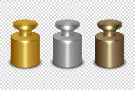 Vector 3d Realistic Metal Golden, Silver, Bronze Calibration Laboratory Weight Icon Set Closeup Isolated on Transparent Background. Design Template of Little Weights for Mechanical Jewelry Scales