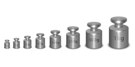 Vector 3d Realistic Metal Steel Silver Calibration Laboratory Weight Different Sizes Icon Set Closeup Isolated on White Background. Design Template of Little Weights for Mechanical Jewelry Scales Vektorové ilustrace