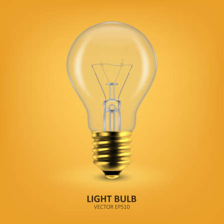 Vector 3d Realistic Golden Off Light Bulb Icon Closeup on Yellow Background. Design Template, Clipart. Glowing Incandescent Filament Lamps. Creativity Idea, Business Innovation Concept 向量圖像