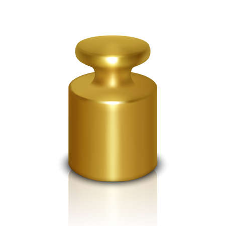 Vector 3d Realistic Metal Golden Calibration Laboratory Weight Icon with Reflection Closeup Isolated on White Background. Design Template of Little Weight for Mechanical Jewelry Scales. Front View. Ilustração