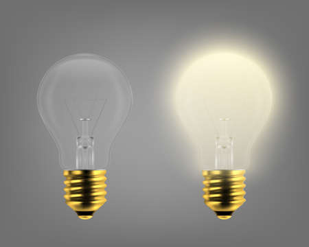 Vector 3d Realistic Turning On and Off Light Bulb Icon Set Closeup Isolated on Gray Background. Glowing Incandescent Filament Lamps. Creativity Idea, Business Innovation Concept. Front View.