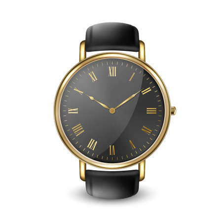 Realistic Golden Classic Vintage Unisex Wrist Watch with Roman Numerals and Black Dial Icon Closeup Isolated on White Background. Design Template of Metal Wristwatch with Black Leather Bracelet.