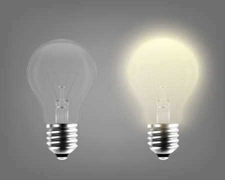 Vector 3d Realistic Turning On and Off Light Bulb Icon Set Closeup Isolated on Gray Background. Glowing Incandescent Filament Lamps. Creativity Idea, Business Innovation Concept. Front View