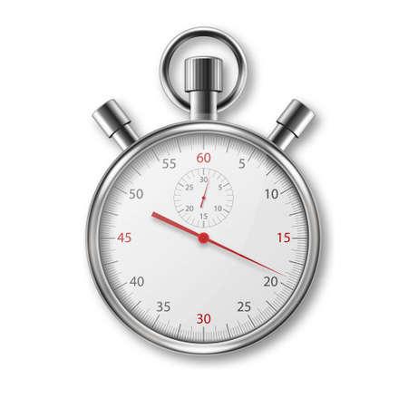 Vector réaliste métal acier argent gris chronomètre classique icône libre isolé sur fond blanc. Modèle de conception de chronomètre. Minuteur sportif sur les compétitions. Début, fin, gestion du temps. Vue de dessus