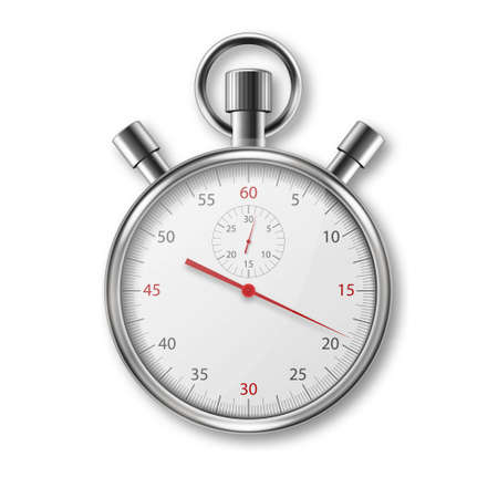 Vector Realistic Metal Steel Silver Gray Classic Stopwatch Icon Closeup Isolated on White Background. Stop-watch Design Template. Sport Timer on Competitions. Start, finish, Time Management. Top View