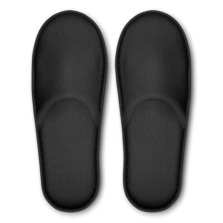 3D Vector Realistic Black Detailed Blank Hotel Slippers Icon Closeup Isolated on White Background. Design Template of Home, Bath Soft Slippers for Mock Up. Comfortable Footwear Concept. Top View