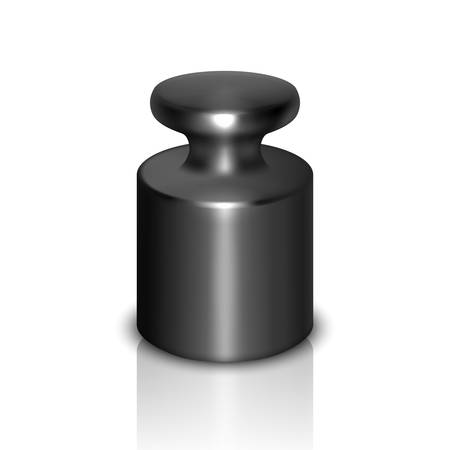 Vector 3d Realistic Black Metal Gray Calibration Laboratory Weight Icon with Reflection Closeup Isolated on White Background. Design Template of Little Weight for Mechanical Jewelry Scales. Front View