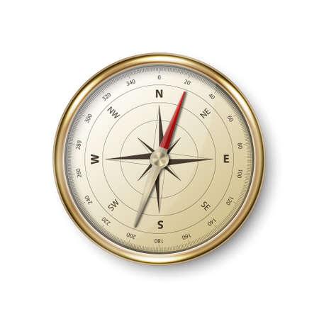 Vector 3d realista metal dorado antiguo brújula vintage con icono de rosa de los vientos Closeup aislado sobre fondo blanco. Plantilla de diseño. Viajes, concepto de navegación. Ilustración vectorial de stock Ilustración de vector