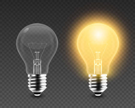 Vector 3d Realistic Turning On and Off Light Bulb Icon Set Closeup Isolated on Transparent Background. Glowing Incandescent Filament Lamps. Creativity Idea, Business Innovation Concept. Front View