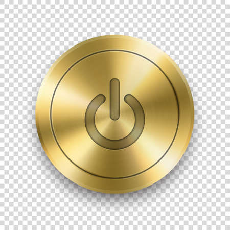 Vector 3d Realistic Metallic Golden Knob. Design Template of Metal Gold Textured Circle Button Closeup. Playback Control, On and Off, Start, Power Push-Button. Design Template for Web, app