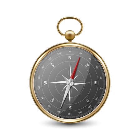 Vector 3d Realistic Metal Golden Antique Old Vintage Compass with Windrose Icon Closeup Isolated on White Background. Black Dial. Design Template. Travel, Navigation Concept. Front View