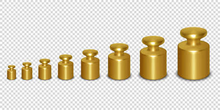 Vector 3d Realistic Metal Golden Calibration Laboratory Weight Different Sizes Icon Set Closeup Isolated on Transparent Background. Design Template of Little Weights for Mechanical Jewelry Scales