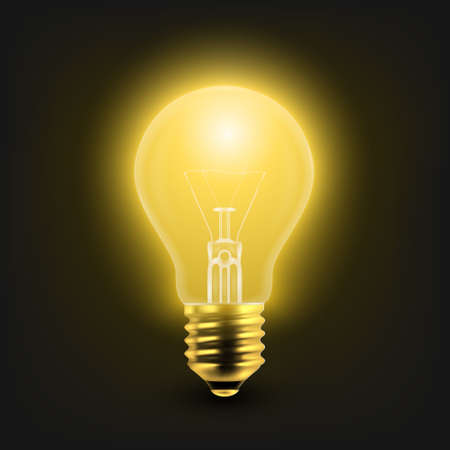 Vector 3d Realistic Turning On Light Bulb Icon Closeup Isolated on White Background. Glowing Incandescent Filament Lamps. Creativity Idea, Business Innovation Concept