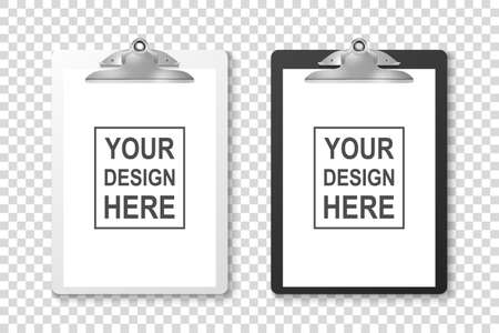 Vector Realistic White and Black Clipboard with Folded Blank Paper and Metal Clip Icon Set Closeup Isolated on Transparent Background. Design Template for Notes, Checklist, Questionnaire, Reminders.