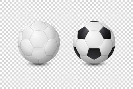 Vector 3d Realistic Classic White and Black Blank Soccer Ball or Football Ball Icon Set Closeup Isolated on Transparent Background. Design Template, Mockup. Front View.