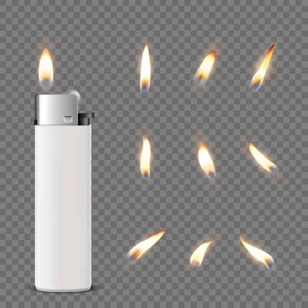 Vector 3d Realistic White Blank Cigarette Lighter Icon Closeup Isolated on Transparent Background with Flame Set. Design Template for Advertising, Mockup, Corporate Identity. Front View.