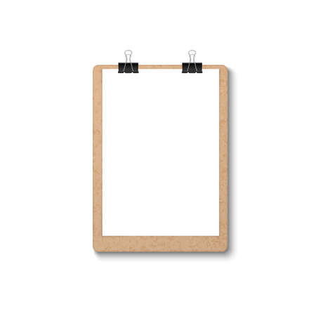 Vector 3d Realistic Brown Craft Clipboard with Blank Paper, Metal Clip Icon Closeup Isolated on White Background. Design Template for Notes, Mockup, Checklist, Questionnaire, Reminders.