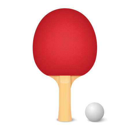 Vector 3d Realistic Red Racket and Ball Icon Closeup Isolated on White Background. Sport Equipment for Table Tennis. Design Template Illustration