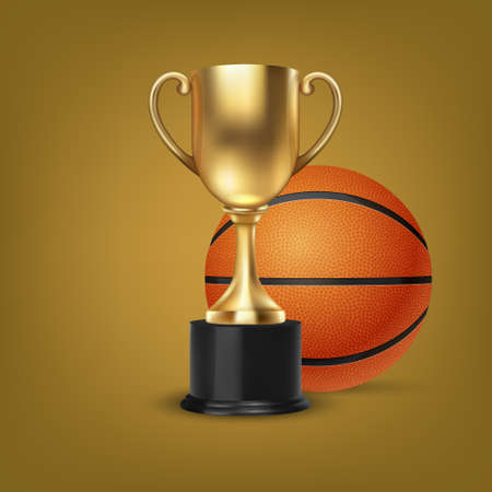 Realistische Vektor 3d Blank Golden Champion Cup Icon Wirh Basketball Set auf orangem Hintergrund. Designvorlage der Meisterschaftstrophäe. Sportturnierpreis, Gold Winner Cup und Victory Concept