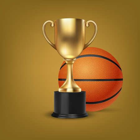 Vector réaliste 3d Blank Golden Champion Cup Icon avec jeu de basket-ball sur fond orange. Modèle de conception de trophée de championnat. Prix du tournoi sportif, Gold Winner Cup et Victory Concept