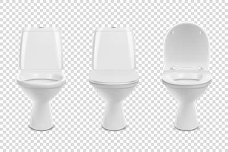Vector 3d Realistic White ?eramic Toilet Icon Set Closeup Isolated on Transparent Background. Toilet Bowl with and without Lid, Open and Closed. Plumbing, Mockup, Design Template for Interior.