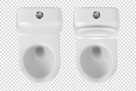 Vector 3d Realistic White eramic Toilet Icon Set Closeup Isolated on Transparent Background. Opened Toilet Bowl with and without Lid. Plumbing, Mockup, Design Template for Interior. Top View