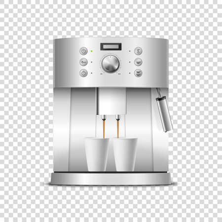 Vector 3d Realistic Modern Metal Chrome Steel Silver Espresso Coffee Machine with Two White Coffee Cups Closeup Isolated on Transparent Background. Design Template of Coffee Maker, Mockup. Front View. Stock Illustratie