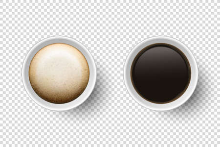 Vector 3d Realistic Disposable Opened Paper, Plastic Coffee Drinks Cup with Capuccino, Espresso or Americano Set Closeup Isolated on Transparent Background. Stock Illustratie