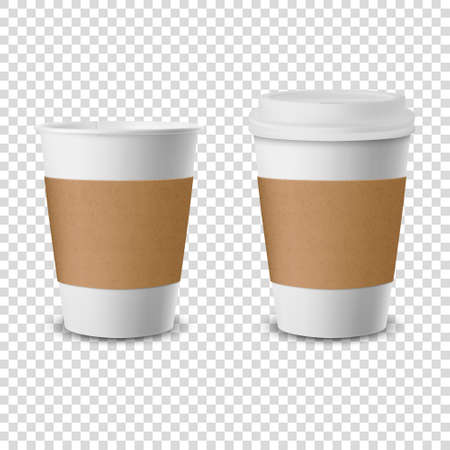 Vector 3d Realistic Disposable Opened and Closed with Lid Paper, Plastic Coffee Cup for Drinks Icon Set Closeup Isolated on Transparent Background. Design Template, Mockup. Top and Front View