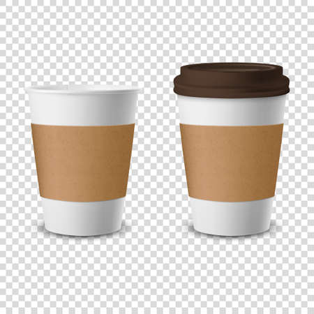 Vector 3d Realistic Disposable Opened and Closed with Lid Paper, Plastic Coffee Cup for Drinks Icon Set Closeup Isolated on Transparent Background. Design Template, Mockup. Front View