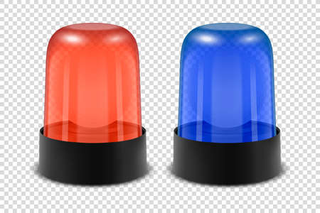 Vector 3d Realistic Red and Blue Police Flasher Siren Icon Set Closeup Isolated on Transparent Background. Light, Beacon For Police Car, Ambulance, Fire Trucks. Emergency Flashing Siren. Front View