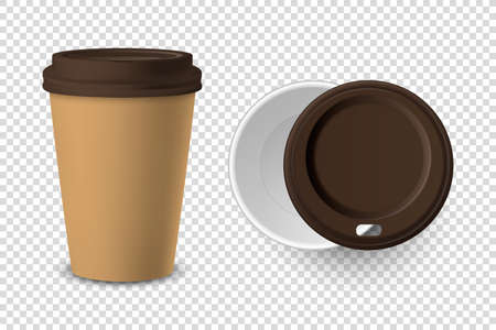 Vector 3d Realistic Brown Disposable Closed and Opened Paper, Plastic Coffee Cup for Drinks with Brown Lid Set Closeup Isolated on Transparent Background. Design Template, Mockup. Top and Front View