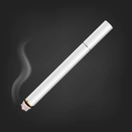 Vector 3d réaliste blanc clair tout allumé Cigarette avec l'icône de fumée libre isolé sur fond noir. Modèle de conception. Concept de problème de fumée, tabac, maquette de cigarette