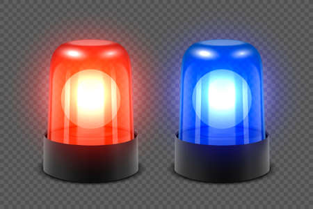 Vector 3d Realistic Red and Blue Turn On Police Flasher Siren Set Closeup Isolated on Transparent Background. Light, Beacon For Police Car, Ambulance, Fire Trucks. Emergency Flashing Siren. Front View  イラスト・ベクター素材