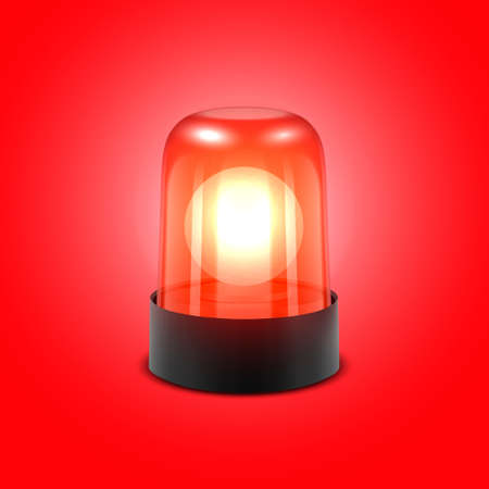 Vector 3d Realistic Red Turn On Police Flasher Siren Closeup Isolated on Red Background. Light, Beacon For Police Car, Ambulance, Fire Trucks. Emergency Flashing Siren. Front View. Ilustración de vector