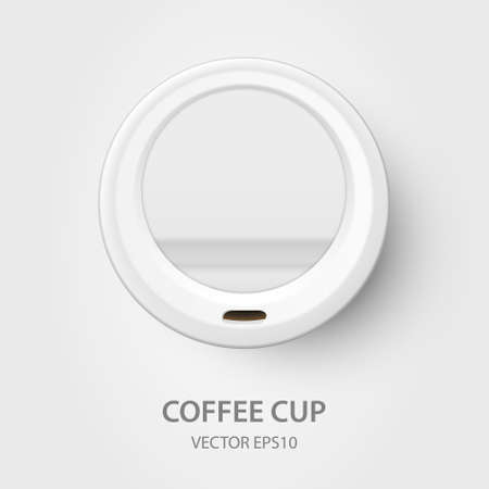 Vector 3d Realistic White Disposable Closed Paper, Plastic Coffee Cup for Drinks with White Lid Closeup Isolated on White Background. Design Template, Mockup. Top View