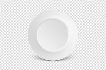Vector 3d Realistic White Porcelain Food Dish Plate Icon Closeup Isolated on Transparent Background. Front View. Design template, Mock up for Graphics, Branding Identity, Printing, etc