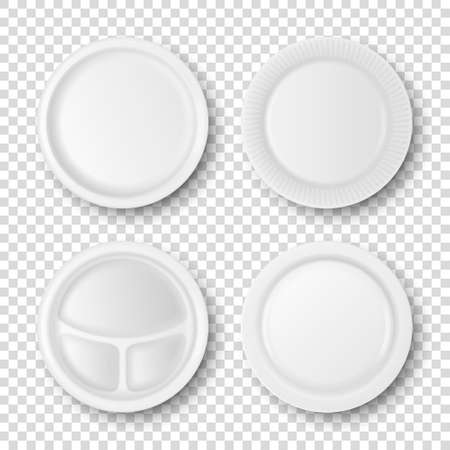 Vector 3d Realistic White Porcelain, Plastic or Paper Disposable Food Dish Plate Icon Set Closeup Isolated. Top View. Design template, Mock up for Graphics, Branding Identity, Printing, etc Vektoros illusztráció