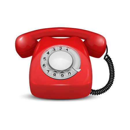 Vector 3d Realistic Vintage Retro Old Red Telephone Icon Closeup Isolated on White Background. Design Template, Call Center Support Concept. Front View.