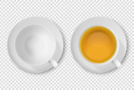 Vector 3d Realistic White Porclean, Ceramic Empty Tea Cup, Mug and with Green Tea Closeup Isolated on Transparent Background. Design Template, Clipart. Top View