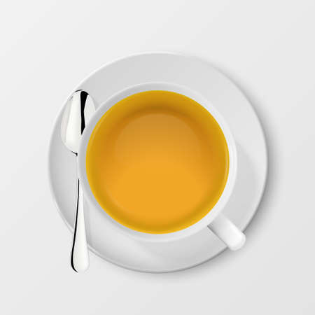 Vector 3d Realistic White Porclean, Ceramic Tea Cup, Mug with Green Tea and Silver Tea Spoon Closeup Isolated on White Background. Design Template, Clipart. Top View