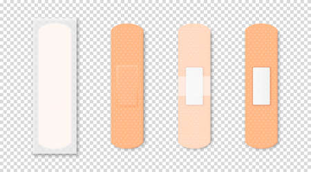 Vector 3d Realistic Medical Patch Icon Set Closeup Isolated on Transparent Background. Design Template Adhesive Bandage Elastic Medical Plasters. Front and Back Side View.
