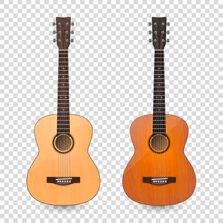 Vector 3d Realistic Classic Old Retro Acoustic Brown Wooden Guitar Icon Set Closeup Isolated on Transparent Background. Design Templte, Mockup, Clipart. Musical Art Concept Vetores