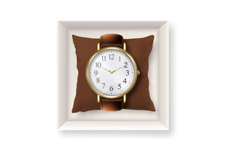 3d Vector Realistic Golden Classic Vintage Unisex Wrist Watch with Roman Numerals in Paper Box Icon Closeup Isolated on White Background. Design Template of Wristwatch with Leather Bracelet. Top View