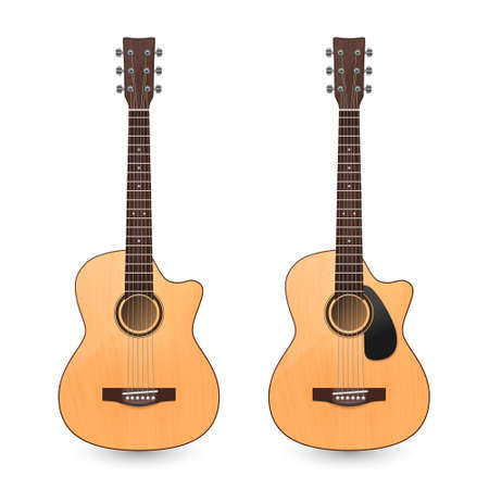 Vector 3d Realistic Classic Old Retro Acoustic Brown Wooden Guitar Icon Set Closeup Isolated on White Background. Design Templte, Mockup, Clipart. Musical Art Concept.