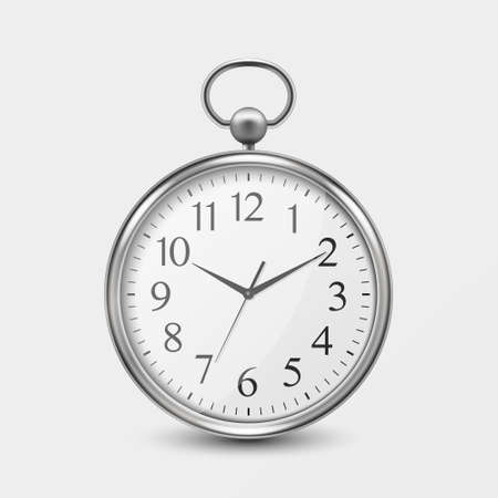 3d Realistic Metal Silver Old Vintage Pocket Watch Icon Closeup Isolated on White Background. Antique Clock Face, Design Template, Stock Vector Illustration.