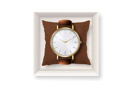 3d Vector Realistic Golden Classic Vintage Unisex Wrist Watch with Roman Numerals in Paper Box Icon Closeup Isolated on White Background. Design Template of Wristwatch with Leather Bracelet. Top View Vecteurs