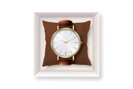 3D-Vektor realistische goldene klassische Vintage Unisex-Armbanduhr mit römischen Ziffern in Pappschachtel-Symbol-Nahaufnahme, isoliert auf weißem Hintergrund. Designvorlage der Armbanduhr mit Lederarmband. Ansicht von oben Vektorgrafik