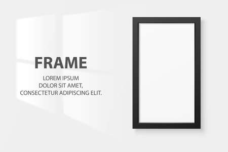 Vector 3d Realistic Black Vertical Wooden Simple Modern Frame Icon Closeup Isolated on White Wall Background with Window Light. It can be used for presentations. Design Template, Mockup, Front View Ilustracja